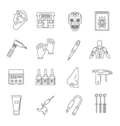 Tattoo parlor icons set outline style vector