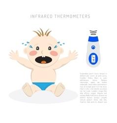 Temperature measurement baby vector image vector image