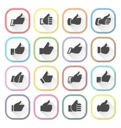 Thumbs up set light buttons vector