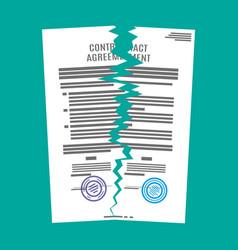 Torn in half contract document vector