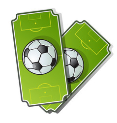two football cards soccer ball on playing field vector image