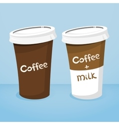 Two plastic cups with coffee vector