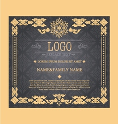 vintage certificate Thai style vector image vector image