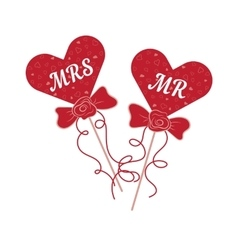 wedding hearts MR and MRS on a stick vector image vector image