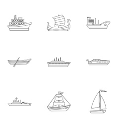 Yacht icons set outline style vector