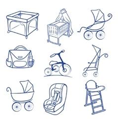 Baby car seat pram bag cradle carriage vector image