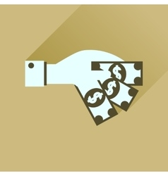 Flat icon with long shadow money in hand vector