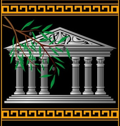 greek temple and olive branch vector image