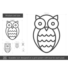 Wisdom owl line icon vector