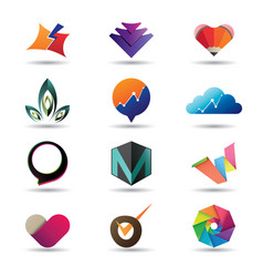 Modern business icon collection vector
