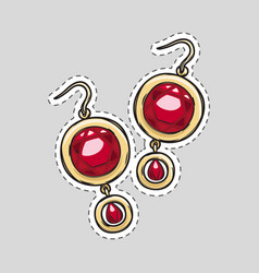 red diamond brilliant earrings beautiful accessory vector image