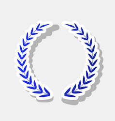 Laurel wreath sign  new year bluish icon vector