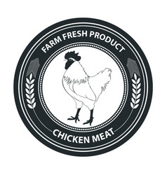 Retro styled badge with chicken vector