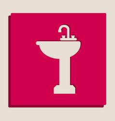 Bathroom sink sign grayscale version of vector