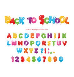 Back to school balloon colorful font for kids vector