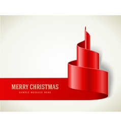 Christmas red tree from ribbon vector image