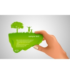 Hand holding a green bubble vector