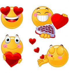 Set of valentines smileys emoticons vector