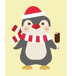 Christmas penguin with ice cream vector