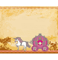 Royal carriage with horse on the grunge background vector image