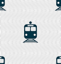 Train icon sign seamless pattern with geometric vector