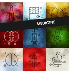 Medicine timeline infographics with blurred vector