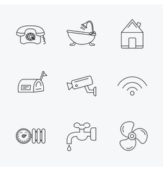 Wifi vide camera and mailbox icons vector