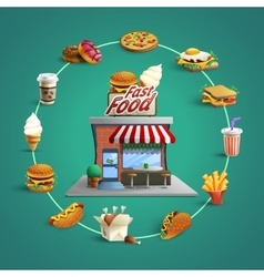 Fastfood restaurant pictograms circle composition vector