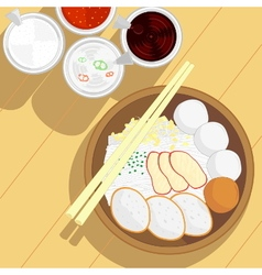Thai style fish ball noodle vector