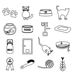 Cats pets items simple black outline icons set vector