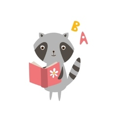 Raccoon reading a book vector