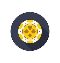 Casino chip with long shadow vector image