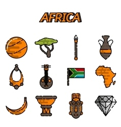 Africa flat icons set vector