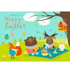 Animals celebrating Easter vector image