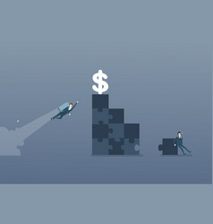 Business man solve puzzle making stairs and flying vector
