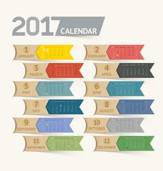 calendar 2017 print template design ribbon paper vector image