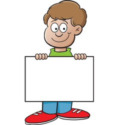 Cartoon Boy with a Sign vector image vector image