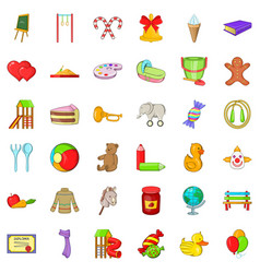 Child playground icons set cartoon style vector