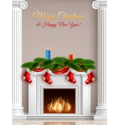 Christmas and new year greeting poster vector