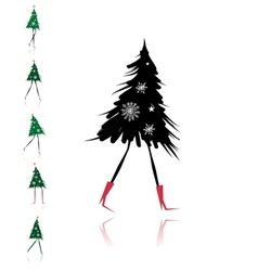 Christmas tree girl for your design vector image vector image