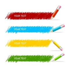 colorful text box and pencils vector image