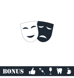Comedy and tragedy theatrical masks icon flat vector image