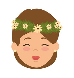 cute wife with flowers avatar character vector image
