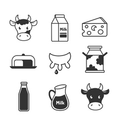 Dairy and milk icons set vector image vector image