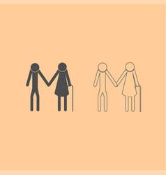elder people stick dark grey set icon vector image