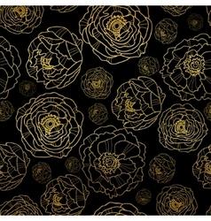 Golden on black peony flowers summer vector