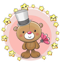 greeting card bear with stars vector image