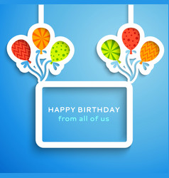 Happy birthday colorful applique background vector