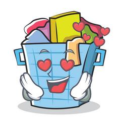 In love laundry basket character cartoon vector