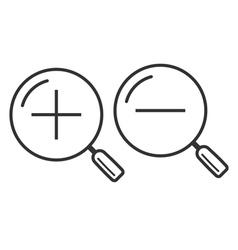 Increase-decrease magnifiers icons vector